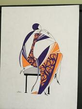 Lena Sevostyanova Pen/ink/Gouache titled Art Deco lady on chair