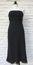 ANN TAYLOR Little Black Strapless Evening Dress Empire Waist Midi SilkChiffon 4
