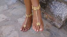 Crochet Barefoot sandals-gold-wedding favors-handmade-jewelry-one size-beach