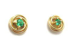 Colombian Emerald Earrings Round .18 Cts 18K Yellow Gold Fine Jewelry Muzo Mine