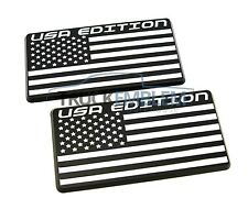2 NEW CUSTOM MATTE BLACK USA EDITION BADGES EMBLEMS CHEVROLET DODGE FORD GMC GM