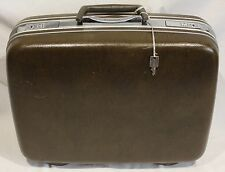"Vintage Samsonite Silhouette Suitcase Luggage Denver Hard Side Brown 17"" Key H M"