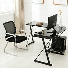 Glass Laptop Table L-Shape Corner Computer Desk PC Black Workstation Home Office