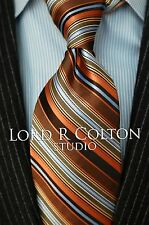 Lord R Colton Studio Tie - Salmon Gold & Blue Woven Stripe Necktie - $95 New