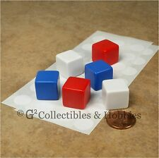 NEW Set of 6 Blank Dice - 16mm 5/8 inch Red White Blue Math Game RPG D6