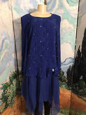 AFTER DARK PLUS 18W BLUE TEXTURED PEARLS DROP LAYERED WAIST LONG SLEEVE SCARF HE
