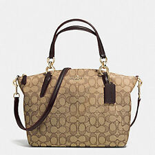 New Authentic COACH Small Kelsey Satchel in Signature Khaki Brown F36625