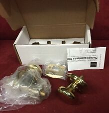 YALE Design Elements DEMI-ROUND Privacy DOOR KNOB SET Polished Brass NIB!