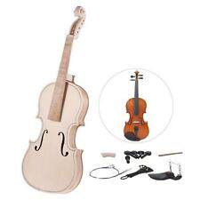 DIY 4/4 Full Size Natural Solid Wood Violin Fiddle Kit Spruce Top Maple W0Z4