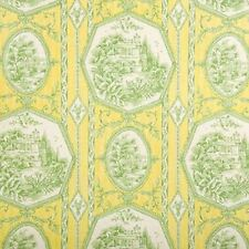 Lime Yellow Green  Framed Park Theme Toile Home Decor Drapery Sewing Fabric