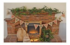 Feliz Navidad Christmas Hanging Decoration Hessian Bunting Burlap Garland Flags