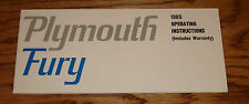 1965 Plymouth Fury Owners Operators Manual 65