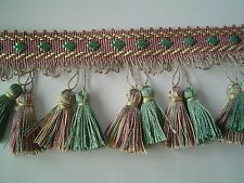 """3"""" Tassel Fringe Trim dusty rose, Green and Soft Gold have Matched Braid"""