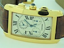 Mens Cartier Tank Americaine American Chronograph Chronoflex 18K Solid Gold