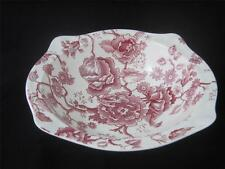 """JOHNSON BROTHERS  ENGLISH CHIPPENDALE SOVEREIGN RED PINK  9"""" ROUND SERVING  BOWL"""