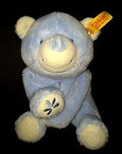 Steiff Blue Teddy Bear 236600 Flower Paw Lying Down Baby Soft plush knopf Im Ohr