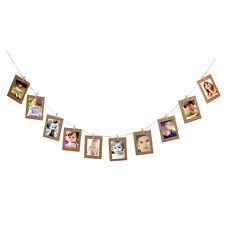 10x Khaki Hanging Paper Photo Frame Album Picture Display Clips Hemp Rope