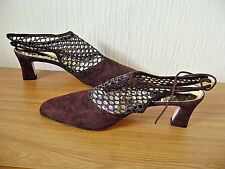 Ladies Brown Suede Leather Mid Heeled Mesh Topped Shoes Size 4.5 ( 37.5) Carvela