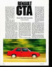 1987 Renault Alliance GTA Original Car Review Print Article J533
