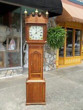 Outstanding English Oak Tall Case Clock with Wonderful Inlay 19th century.