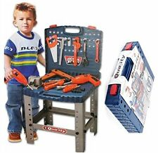 Kids 69 Piece Toy Tool Kit Play Set Folding Work Bench Workshop Drill Portable
