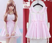 Girls Kawaii Princess Cute Dolly elegant Sleeveless Chiffon Lace Dress Pink