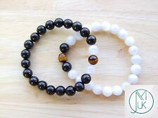 Couple Moonstone/Jet/Tiger Natural Gemstone Bracelet 7-8'' Elasticated Healing