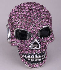 Skull stretch ring halloween gifts for women girls biker jewelry W crystal 5