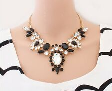 Bohemian Vogue Resin Plated Shiny Crystal Flower Pendant Bib Necklace