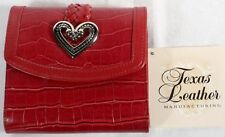 "Western Wallet ""Red Braid & Silver Heart"" by Texas Leather"