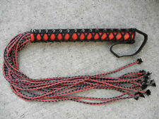 NEW Cat Of 12 Tails Flogger Black/Red Leather 9 Nine CORSET BODICE - HORSE TOOL