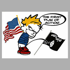Calvin Peeing on ISIS Flag Bumper Sticker Cartoon Boy Pissing on Terrorist Decal