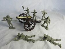DULCOP Civil War cannon with MARX crew, and Infantry Toy Soldiers GRAY (54MM)