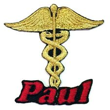 Iron-on Caduceus Medical Patch With Name Personalized Free
