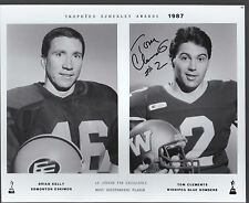 TOM CLEMENTS CFL BOMBERS SIGNED SCHENLY PHOTO FROM HALL OF FAME
