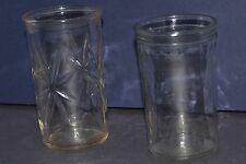 2 VINTAGE JELLY JAR JUICE GLASSES STAR BORDER & STARBURST