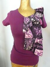 Custom Purple Batik Ruffle T shirt African Boho Unique
