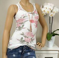 Top 2tlg Shirt Pailletten Blumen Netzstoff Weiß Pink Rosa Gypsy 34 36 BOHO Ibiza