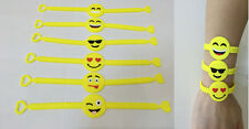 Emoji Party Favor Toy Rubber Wristbands Bracelets for Children - Lot of 30 Mixed