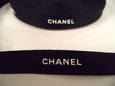 "Chanel black ribbon by the yard white logo 1/2"" wide gift wrapping"