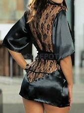 Sexy Blk Satin See-through Lace Back Dress Robe w/ Belt Lingerie G-string Set