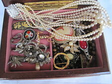 Mixed Lot Vintage Antique Costume Jewellery Wooden Jewellery Box
