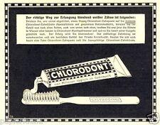 Zahnpasta Cholordont Reklame von 1925 Zahncreme weiße Zähne Zähnbürste Zahnarzt