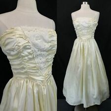Vintage 80s GUNNE SAX Ivory Strapless Party Dress (XS) Prom Wedding Lace Ruched