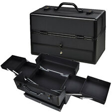"14"" Pro Aluminum Makeup Train Case Jewelry Box Cosmetic Organizer w/Draws Black"