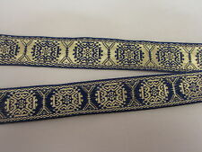 "1"" Wide Blue and Metallic  Gold Design Woven Jacquard Ribbon Trim - 1  yard"