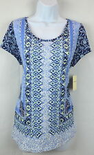 Lucky Brand Womens Large Blue Floral Scarf Print Top Blouse T-Shirt Tunic NEW
