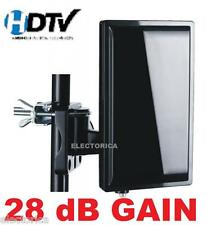 HIGH GAIN DIGITAL HDTV UHF VHF DTV INDOOR OUTDOOR HD ANTENNA &COAX CABLE TV +AMP