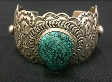 Great Turquoise In This Sterling Cuff Bracelet *Native American Indian* -Navajo