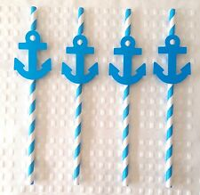 Anchor Navy Straws 20 Blue Paper Party Straw Nautical Sea Boat PartyReady to Use